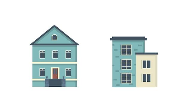 Vorstädtische privathäuser. haus außen. städtische gebäudeikonen eingestellt.