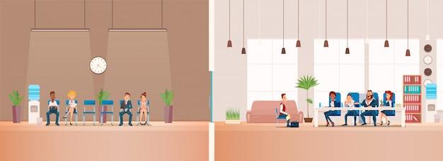 Vorstellungsgespräch und recruiting. vektor-illustration.