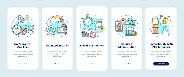 Vorteile der biometrischen zahlung beim onboarding des bildschirms der mobilen app-seite mit konzepten. identifizieren sie den benutzer und autorisieren sie die exemplarische vorgehensweise in 5 schritten. ui-vorlage mit rgb-farbabbildungen