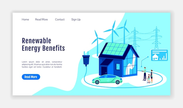 Vorteile der landing page flat color vector template für erneuerbare energien. layout der online-plattform-homepage. smart home einseitige website-oberfläche mit cartoon-illustration.