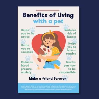 Vorteile des lebens mit einem haustierplakat Kostenlosen Vektoren