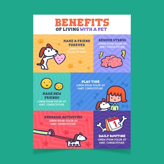 Vorteile des lebens mit einer haustier-infografik