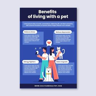 Vorteile des lebens mit einer haustierplakatschablone