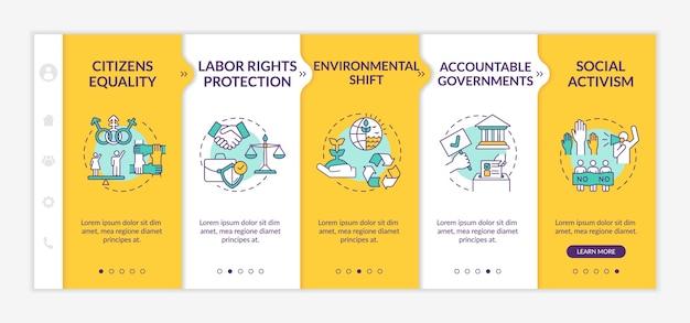 Vorteile des sozialen wandels auf der boarding-vorlage. schutz der arbeitsrechte.