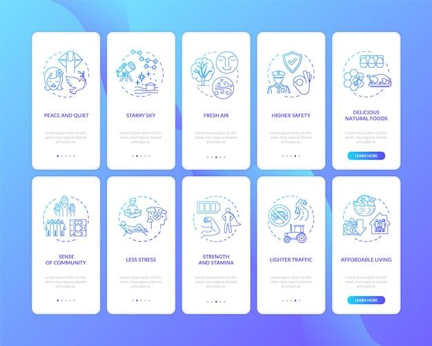 Vorteile des vorstadtlebens onboarding des bildschirms für mobile app-seiten mit konzepten
