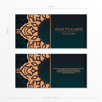 Vorzeigbare vektorvorlage für printdesign postkarte dunkelgrüne farbe mit arabischen mustern. vorbereitung einer einladungskarte mit vintage-ornamenten.