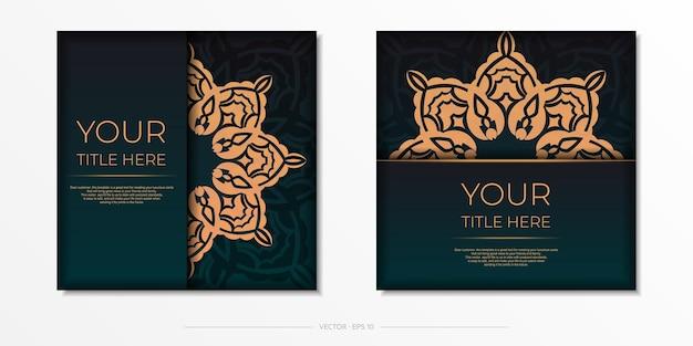 Vorzeigbare vektorvorlage für printdesign postkarte dunkelgrüne farbe mit arabischen mustern.