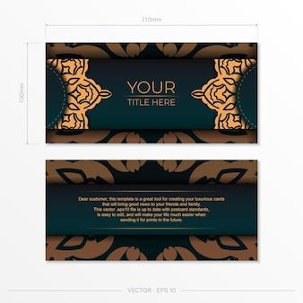 Vorzeigbare vektorvorlage für printdesign-postkarte in dunkelgrüner farbe mit arabischer verzierung. vorbereitung einer einladungskarte mit vintage-mustern.