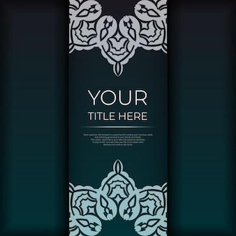 Vorzeigbare vorlage für die druckgestaltung einer postkarte in dunkelgrüner farbe mit arabischem ornament. vektor einladungskarte mit vintage-mustern vorbereiten.