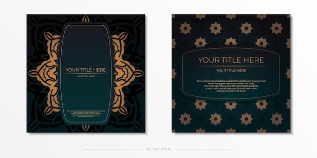 Vorzeigbare vorlage für die druckgestaltung einer postkarte in dunkelgrüner farbe mit arabischem ornament. vorbereitung einer einladungskarte mit vintage-mustern.