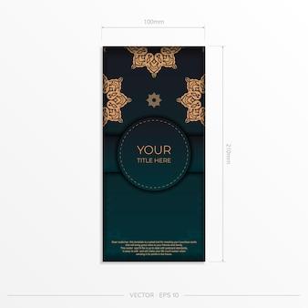 Vorzeigbares postkartendesign in dunkelgrüner farbe mit arabischen mustern. stilvolle einladung mit vintage-verzierung.
