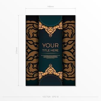 Vorzeigbares postkartendesign in dunkelgrüner farbe mit arabischen mustern. vektor-einladungskarte mit vintage-verzierung.