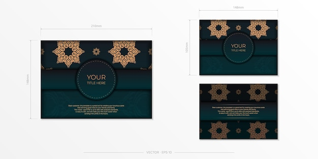 Vorzeigbares postkartendesign in dunkelgrüner farbe mit arabischen mustern.