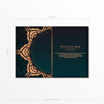 Vorzeigbares vektor-ready-to-print-postkarten-design in dunkelgrüner farbe mit arabischen mustern. einladungskartenschablone mit vintage-verzierung.