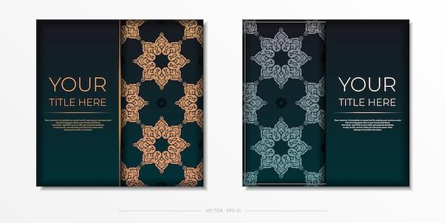 Vorzeigbares vektor-ready-to-print-postkarten-design in dunkelgrüner farbe mit arabischen mustern.
