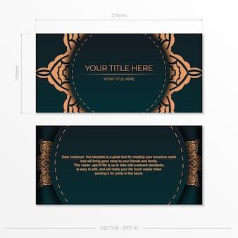 Vorzeigbares vektordesign der postkarte in dunkelgrüner farbe mit arabischen mustern.