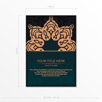 Vorzeigbares vektordesign einer postkarte in dunkelgrüner farbe mit arabischen ornamenten. stilvolle einladung mit vintage-mustern.