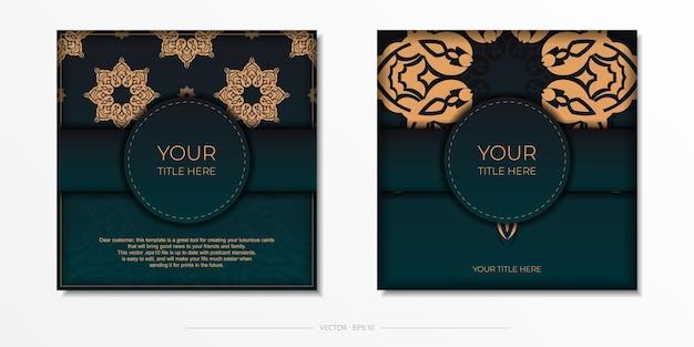Vorzeigbares vektordesign einer postkarte in dunkelgrüner farbe mit arabischen ornamenten.