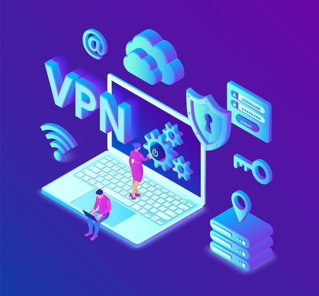 Vpn. virtuelles privates netzwerk. sichere vpn-verbindung. cybersicherheit und datenschutz.