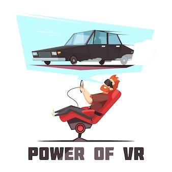 Vr-autofahrsimulator-karikatur