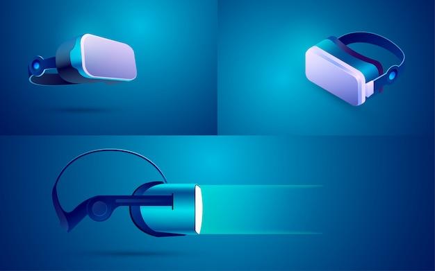 Vr-brille in unterschiedlicher ansicht zur dekoration