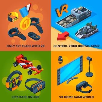 Vr-computerspiele. mitreißendes digitales unterhaltungserlebnis für leute, die das isometrische virtual-reality-helm-headset spielen