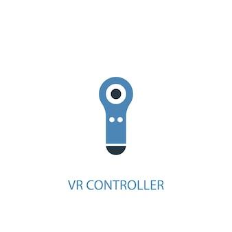 Vr-controller-konzept 2 farbiges symbol. einfache blaue elementillustration. vr-controller-konzeptsymboldesign. kann für web- und mobile ui/ux verwendet werden