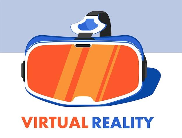 Vr-headset-gerät im flachen stil. technologiekonzept der virtuellen realität. vr-brille für unterhaltung, spiele oder neue erfahrungen. stereoskopische 3d optisch.