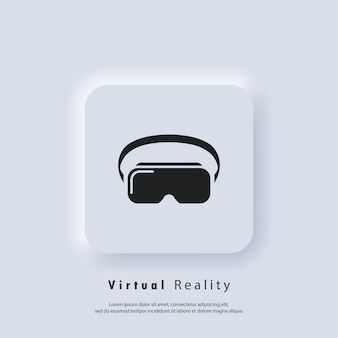 Vr-headset-symbol. virtual-reality-gerät, brille. vektor. ui-symbol. neumorphic ui ux weiße benutzeroberfläche web-schaltfläche. neumorphismus