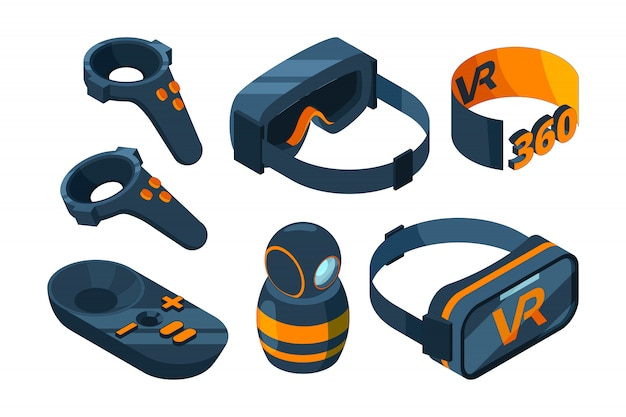 Vr isometrische symbol. tauchen sie in die virtuelle realität ein und erleben sie 3d-bilder von spielgeräten mit helm und brillensimulator