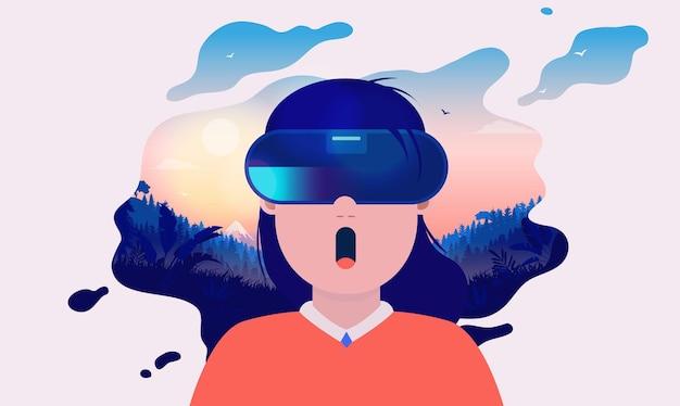 Vr-mädchen mit einer erstaunlichen virtual-reality-erfahrung