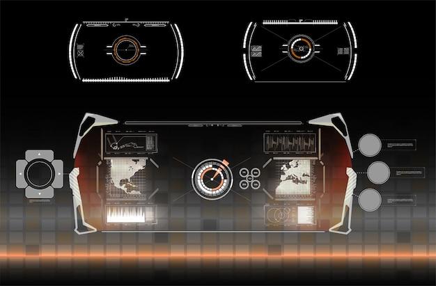 Vr realität im modernen stil. virtuelle realität. moderne technologie. futuristischer hud-schnittstellenbildschirm. hud ui gui futuristische benutzeroberfläche bildschirmelemente gesetzt. hightech-bildschirm für videospiele