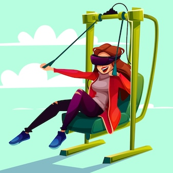 Vr-simulatorunterhaltungfliegenflugzeug-karikaturillustration.