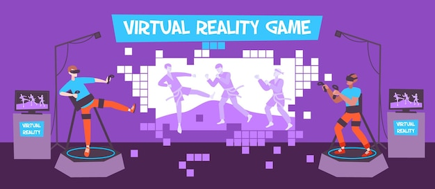 Vr-spielkomposition mit flacher innenlandschaft und gamern mit joysticks auf podien mit holografischem bild