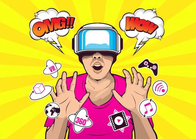 Vr virtual-reality-brille pop-art