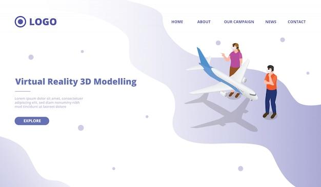 Vr virtuelle realität für 3d-modellierungsobjekt