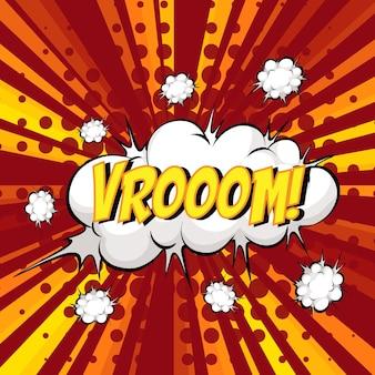Vroom-wortlaut comic-sprechblase beim platzen