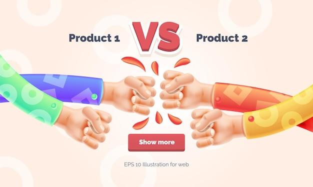 Vs challenge kollision zweier fäuste mit copypaste space vs-banner