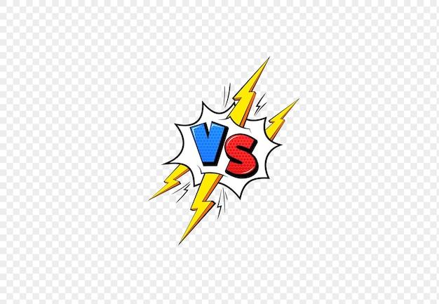 Vs comic-rahmen. im vergleich zu blauem und rotem emblem und gelben blitzbuchstaben für kampfspielduell oder kampfwettbewerb cartoon-stil, flache vektorgrafik einzeln auf transparentem hintergrund