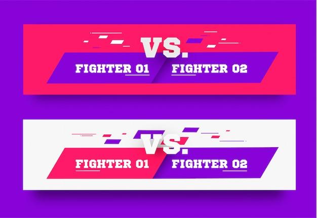 Vs. versus board of rivals, mit platz für text. vektorillustration. grau gegen banner. fußball, basketball, fußballbildschirm. vektorillustration. gelb. im dunklen hintergrund