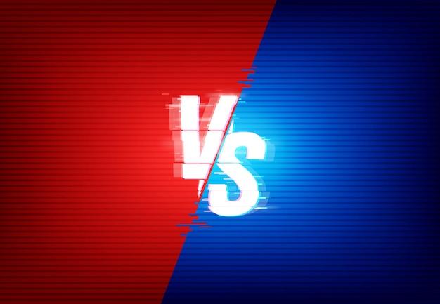 Vs versus getrennt auf roten und blauen farbseiten mit glitch-effekt
