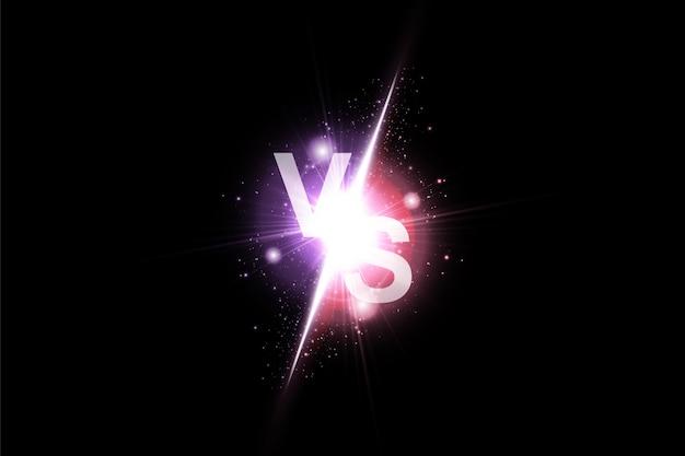 Vs-zeichenvektor gegen hintergrund mit leuchtendem licht