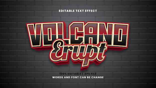 Vulkanausbruch bearbeitbarer texteffekt im modernen 3d-stil