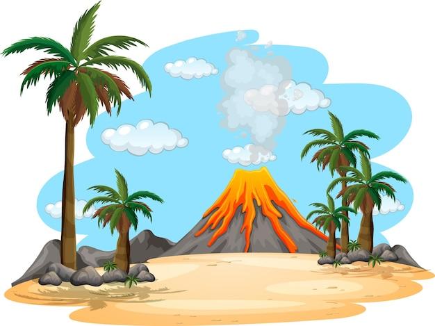 Vulkanausbruch im freien szene hintergrund