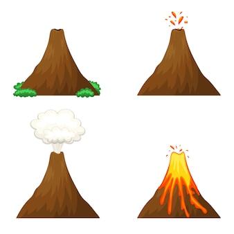Vulkanillustration auf weißem hintergrund