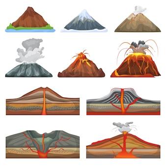 Vulkanvektorausbruch und vulkanismus oder explosionskrämpfe der natur vulkanisch