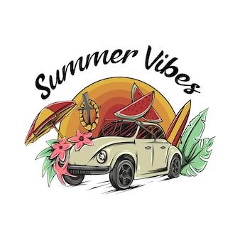 Vw battle mit surfbard regenschirm wassermelone und blumenillustration mit schriftzug summer vibes