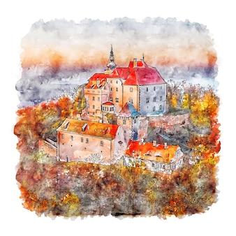 Vysoky chlumec schloss tschechische republik aquarell skizze hand gezeichnete illustration