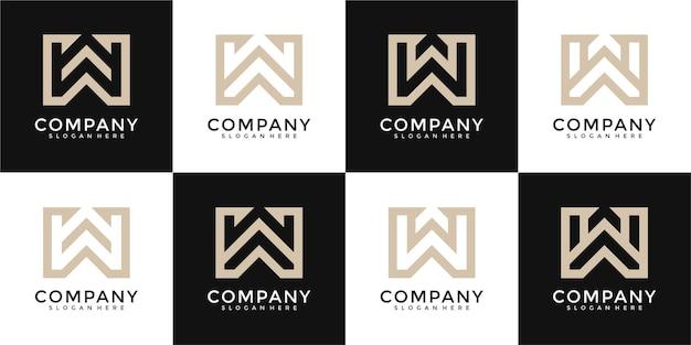 W buchstabe logo sammlung monogramm