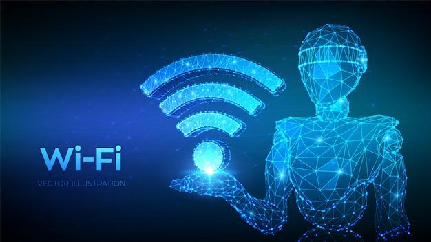 W-lan. abstrakter niedriger polygonaler roboter 3d, der wifi-ikone hält.